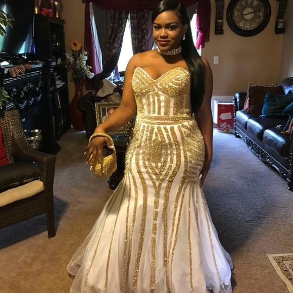 Gold And White Mermaid Dress
